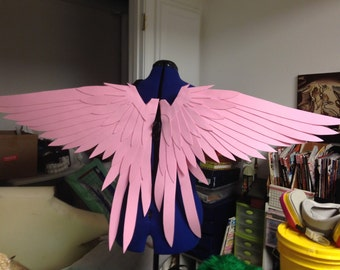 Realistic Pink Tailed Bird Cosplay Wings