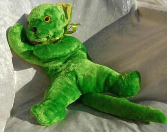 Luxury soft cuddly KITTEN, soft toy green Cat, floppy kitten lime green, springtime kitten stuffed animal, soft cat home decor MADE to ORDER