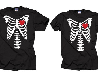 Halloween Skeleton Couple T-shirts Halloween Costume T-shirts Skeleton Rib Cage Couple Tees Couple Halloween Costumes Tee