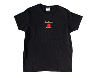 Four Roses Bourbon Black Embroidered T-Shirt Womens Medium Whiskey Promo