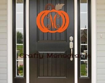 Painted Pumpkin Door Hanger - Wooden Pumpkin Door Hanger with connected single vine letter initial - Fall Decor - Thanksgiving Decor