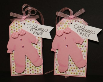 Welcome Baby Gift Tags * Baby Girl * Set of 2