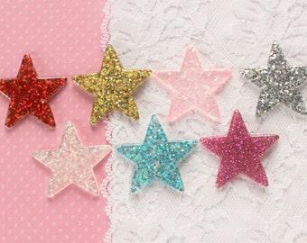 7 Pcs Big Assorted Glittery Star Cabochons - 38x38mm