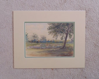 Vintage Mixed Media Landscape Drawing / Painting