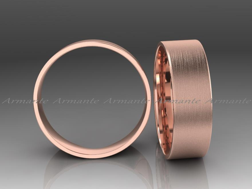 Rose Gold Mens Ring Mens Wedding Ring 7.00 Mm Wide Male