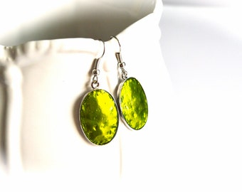 Simple Green Metal Earrings, Gift For Her,Gift Under 6 Dollar.