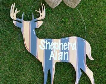 Deer Door Hanger, Buck Door Hanger, Baby Door Hanger, Welcome Door Hanger, Wedding Gift