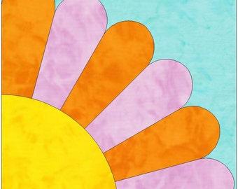 6 Petal Sunflower Corner Dresden Fan Paper Template Quilting Block Pattern PDF