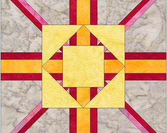 Fargo Star Paper Piece Foundation Quilting Block Pattern PDF