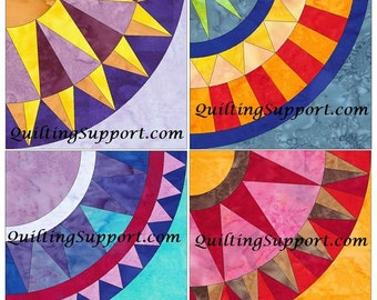 New York Beauty Set 3 Paper Foundation Piecing Quilting 4 Block Patterns PDF