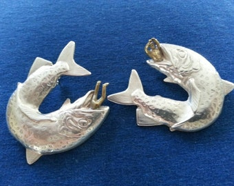 Vintage Silver Tone Linda Hesh Earrings, Fish Eating Men