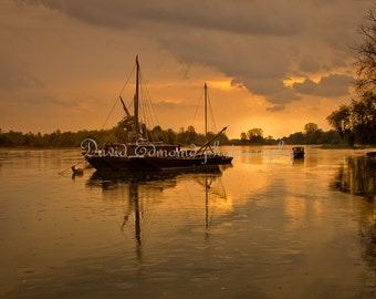 A Signed and Titled Print of Boats on the river Vienne, Langeais, France