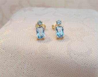 Aquamarine Emerald-cut and round Post Earrings in 14k - EB377