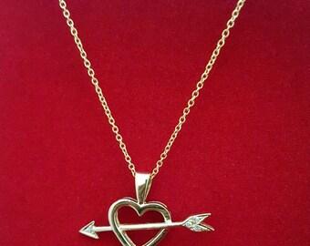 "14k Heart and Arrow Diamond Necklace on 20"" Oval Link Chain -EB381"