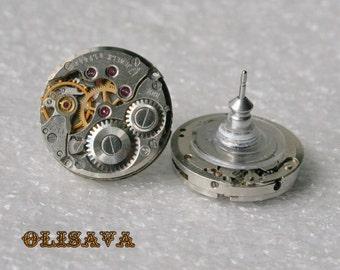 Steampunk Stud Earrings with  Mechanical Watch Movement  , Steampunk Earrings , Steampunk Clockwork Earrings , Watch Movement Earrings