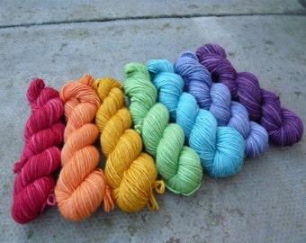 Rainbow Silk/Merino mini skeins of hand dyed DK yarn