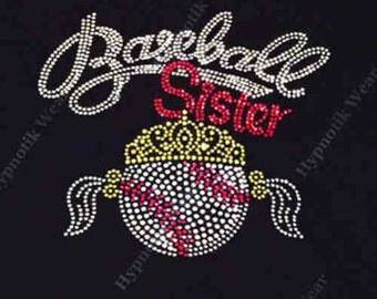"Rhinestone Transfer "" Baseball Sister with Tiara "" Hotfix , Iron On, Bling"