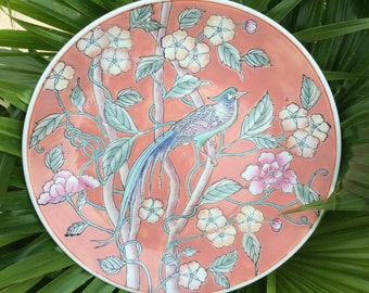 Vintage Porcelain Hand Painted Macau Pink Bird Plate, Pantone Colors 2016, Hollywood Regency Decor, Cottage / Shabby Chic Decor, Collectable