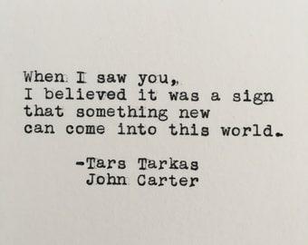 Princess of Mars Quote (John Carter, Tars Tarkas) Typed on Typewriter - 4x6 White Cardstock