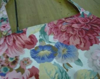 Vintage Sanderson fabric floral apron with pocket