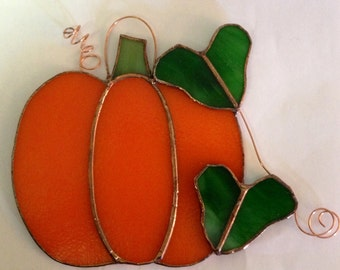 Stained Glass Pumpkin With Leaves Overlay and Copper Wire