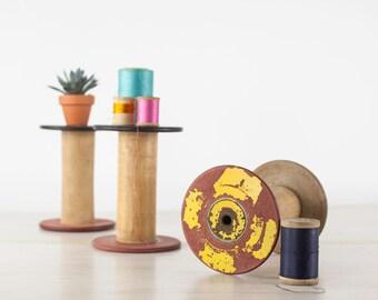 Vintage Wooden Textile Spools, Wood Thread Spools, Industrial Spools, Wooden Bobbin, Textile Thread Spool, Industrial Home Decor