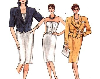 Vogue 9554 Sewing Pattern Misses' Jacket, Dress  Size:  6-8-10  Uncut