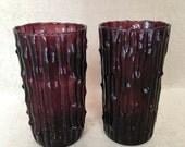 Amethyst Tumbler, Imperial Glass Bambu, Bamboo Texture, Vintage Tumbler, Deep Purple Color, Retro Tiki Glass, Violet Bar Glass, Purple Bambu