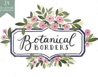 Botanical Borders - Digital Illustration - Clip-Art Set