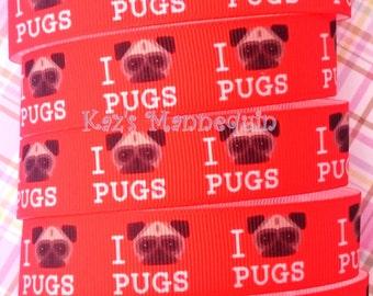 Red Grosgrain Ribbon for Pug Lovers! (S46)