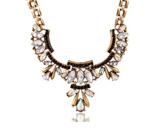Beautiful Cleopatra Crystal Water Drop Statement Necklace