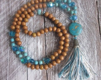 long beaded necklace light Brown wooden beads mala turquoise jewelry aqua cream & white cotton silk tassel bohemian long beaded necklace