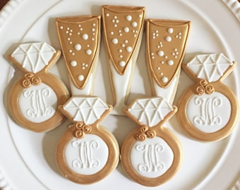Engagement Cookies | Wedding Cookies | Champagne Cookies | Diamond Ring Cookies | Bachelorette Cookies | One Dozen