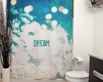 Dream Printed Shower Curtain. Bathroom Decor, Home, Photography, Clouds, Dreamy, Bokeh, Nursery, Curtains, Blue, Inspirational, Pastels