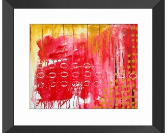 Abacus Art Print, Red Wall Art, Red Abstract Art, Red Abstract Painting, Red Modern Art, Red Home Decor, Red Painting, Red Art, Math, Yellow