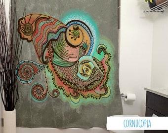 Cornucopia Shower Curtain. Seashells, Bathroom Decor, Curtain, Abstract Art, Underwater, Orange, Stone, Nautical, Ocean, Shells