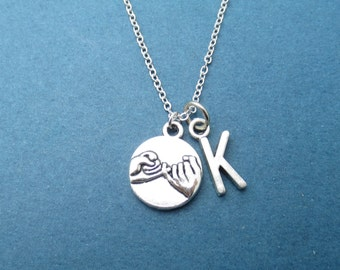 Personalized, Letter, Initial, Pinky, Promise, Silver, Necklace, Lovers, Best friends, Friendship, Gift, Jewelry