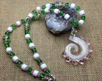 Pink Spiral Necklace, Pink lampwork glass necklace, Spiral Necklace, pink and green necklace, pink swirl necklace, pink and green jewelry