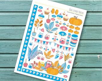 Stickers, autumn, fantasy, owls, pumpkins, macarons, cupcakes, mixed, planners, journaling, digital planner sticker, scrap