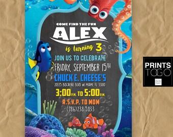 Finding Dory Birthday Invitation, Dory Birthday Party, Finding Dory Invitation, Finding Nemo Invitation, Finding Dory, Finding Nemo, Disney