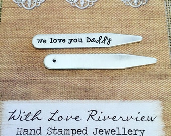 Personalized hand stamped collar stays