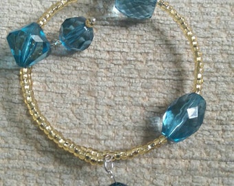 Stunning blue and gold cuff memory wire cuff bracelet