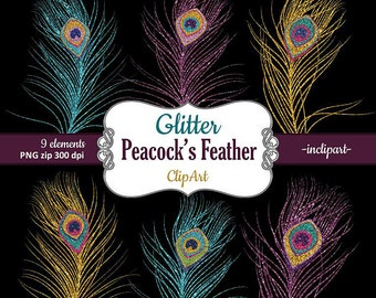 Peacock's Feathers Clipart. Glitter Feathers clip art gold, blue/turquoise, purple. Instant digital download. PNG format. Commercial use.