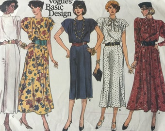 Vintage Vogue Pattern 1717,  Vogues Basic Design, Misses Dress, Size 8-10-12, Uncut