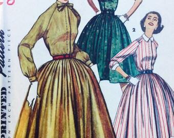 1950s Vintage Simplicity  sewing pattern, simplicity 1683,  shirtwaist dress, size 12