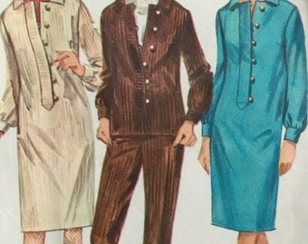 1960s Simplicity Sewing Pattern 6696, Dress or trousers and Overblouse, Misses' Size 16, Bust 36