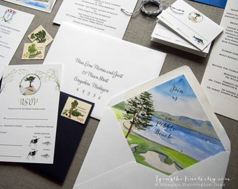 Custom Wedding Invitations - Watercolor Wedding Suite - Pebble Beach Wedding - Watercolor Invites - Hand Painted Invitations