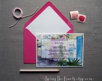 Bridal Shower Invitations - Custom Watercolor Invites - Bridal Shower Invites - Tropical Wedding - Rainbow Row - South Carolina