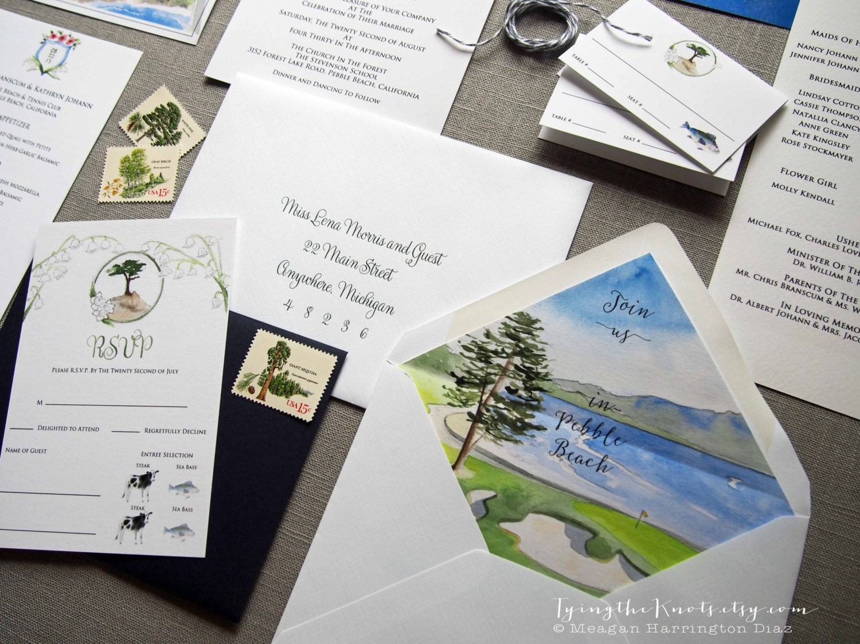 Customized Wedding Invitations: Custom Wedding Invitations Watercolor Wedding Suite Pebble