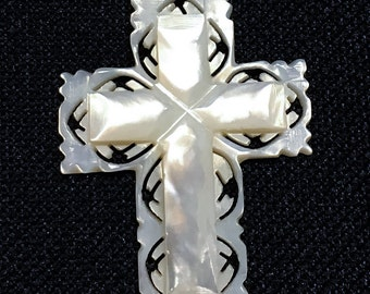Vintage Mother of Pearl Cross Pendant